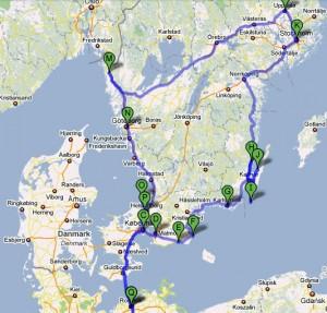 Plán trasy z prahy, přes Kodaň do Stockholmu a zpět